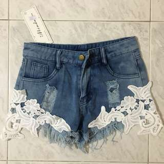 BNWT Denim Laced Shorts