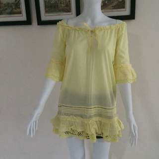 Sabrina Yellow Beach Dress Top