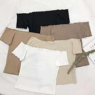 PO: 5 Colours White Beige Light Brown Black Khaki Korean Style Chic Basic Minimalist Off Cold Shoulder Short Sleeve T Shirt Camisole Ribbed Shirt Top
