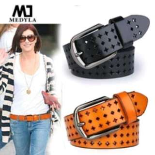 Adult Belts Hot Sale Hk Cutout Strap Female Genuine Leather Cowhide Belt Elastic Hollow Out