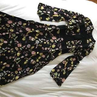 Jill Stuart Long Sleeved Floral Midi Dress
