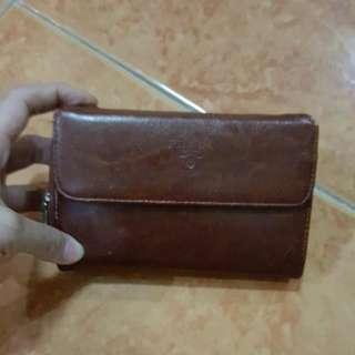 Prada Wallet (Authentic) Maroon Brown