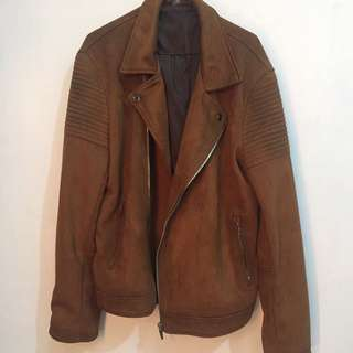 Zara Men Brown Suede Leather Jacket XL