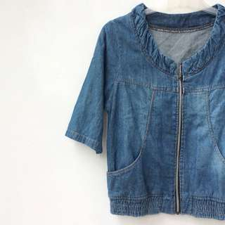 [Unused] Denim Short Sleeve Jacket