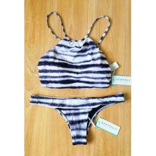 NWT Seafolly Osaka Stripe Reversible Bikini Set Size 12 (H15) - FREE POST