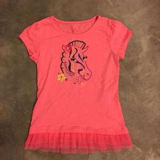 Girls Cotton Tee T-Shirt With Lace Hem
