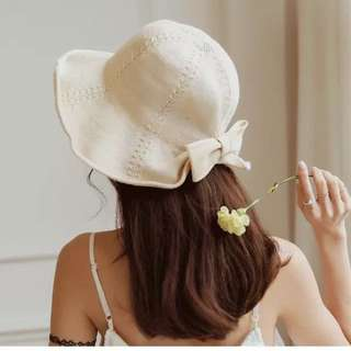 浪漫蝴蝶結棉麻遮陽帽
