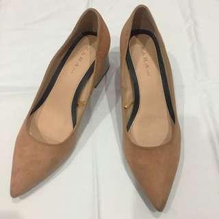 Zara Block Heel Suede Shoes In Nude Blush (size 39)