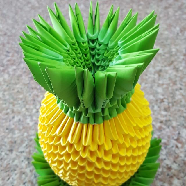 3d Origami Pineapple Design Craft Handmade Craft On Carousell