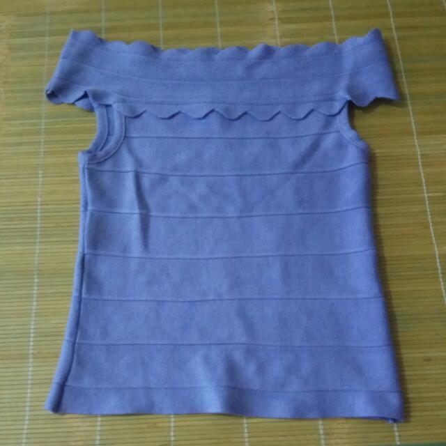 [二手]一字領紫色淑女上衣