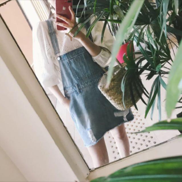 【全新】偏大版牛仔吊帶短裙