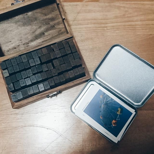 文青風木頭字母印章+風景小卡組合
