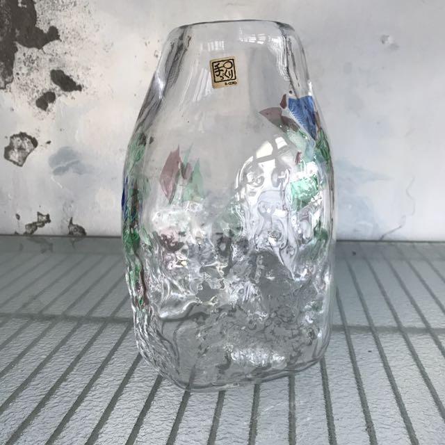 日本琉璃工藝繽紛色塊花瓶