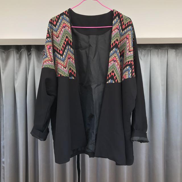 日式和服黑色圖騰個性罩衫