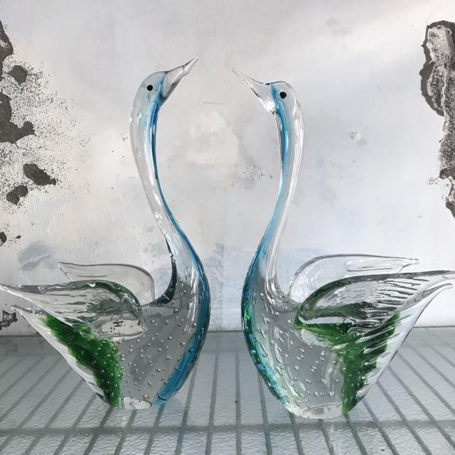展翅藍綠天鵝 一對