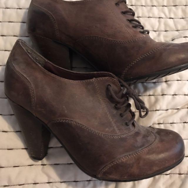 Aldo Leather Booties/heels Sz 38