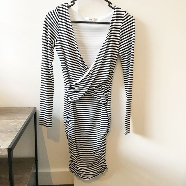 Ava Bodycon Dress (Black & White Stripe)