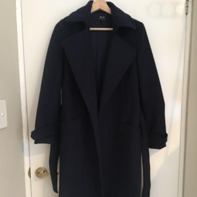 Bardot Dark Blue Long Coat Size 6