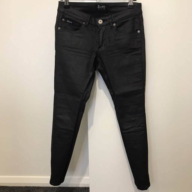 BARDOT Wet Look Hipster Jeans (Size 8)