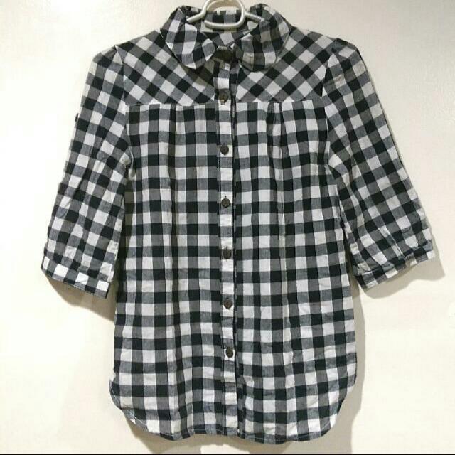 Black & White Checkered Polo Shirt