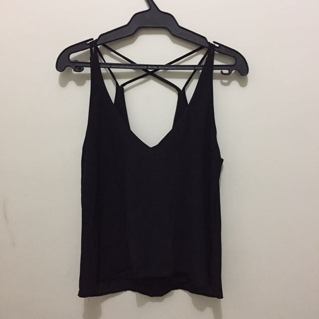 Black Chiffon Cross String Top