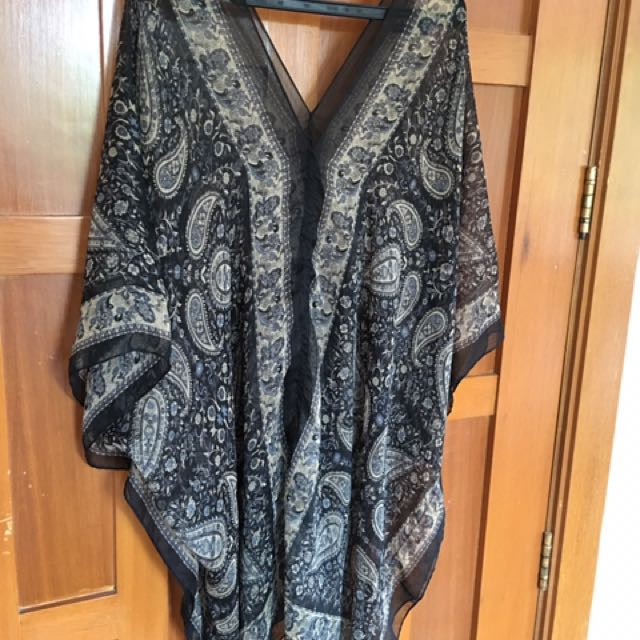Black Printed Cover-up