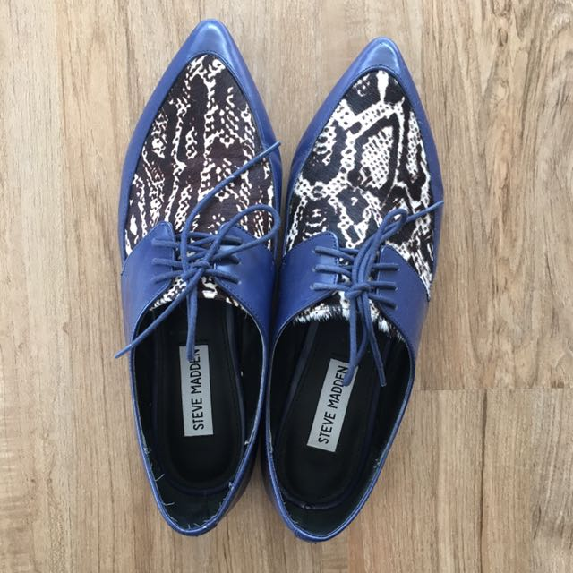Blue Animal Print Steve Madden Oxfords 8