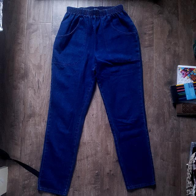 Blue Mom Jeans With Elastic Waist