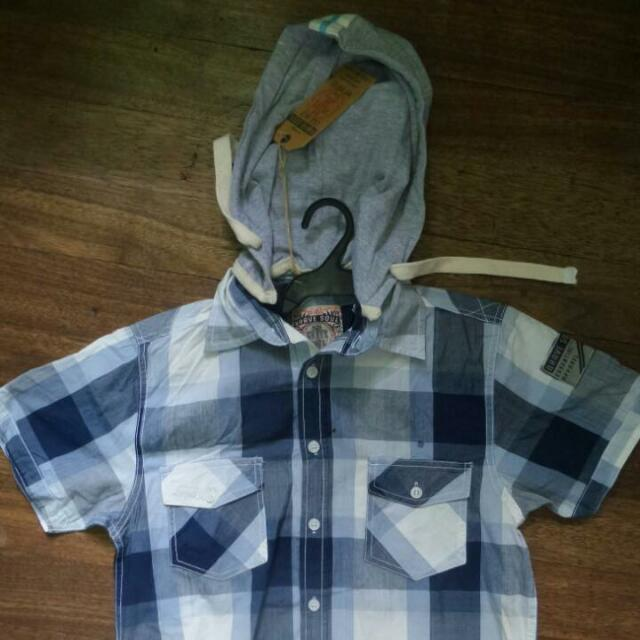Brand New BRAVE SOUL Blue Flannel Polo With Hoodie