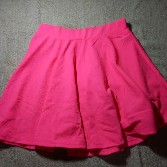 Bright Pink HQ Skater Skirt