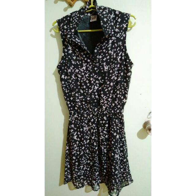 butterfly printed black dress