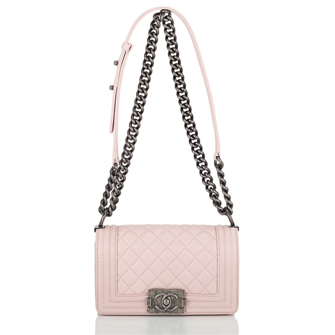 Chanel Le Boy Small Quilted Lambskin Light Pink