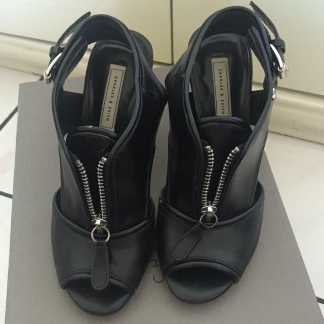 Charles Keith Black Heels Size 35
