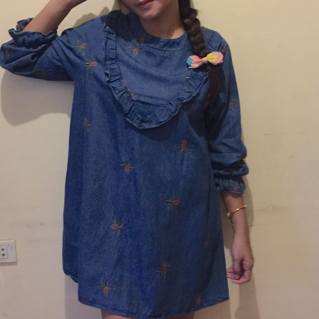 denim dress with embroidery print