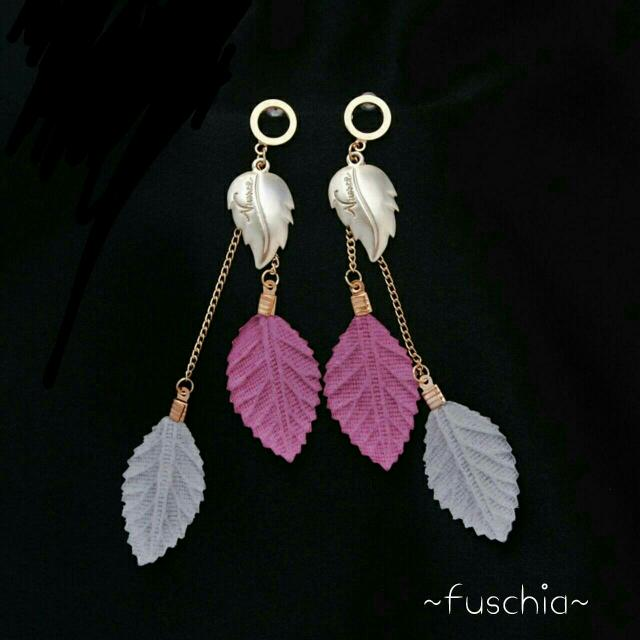 Drop Leaf Fuschia Earing #sss