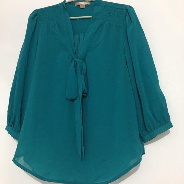 F21 Dark Blue Green Blouse