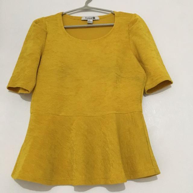 F21 Yellow 3/4 Peplum Blouse