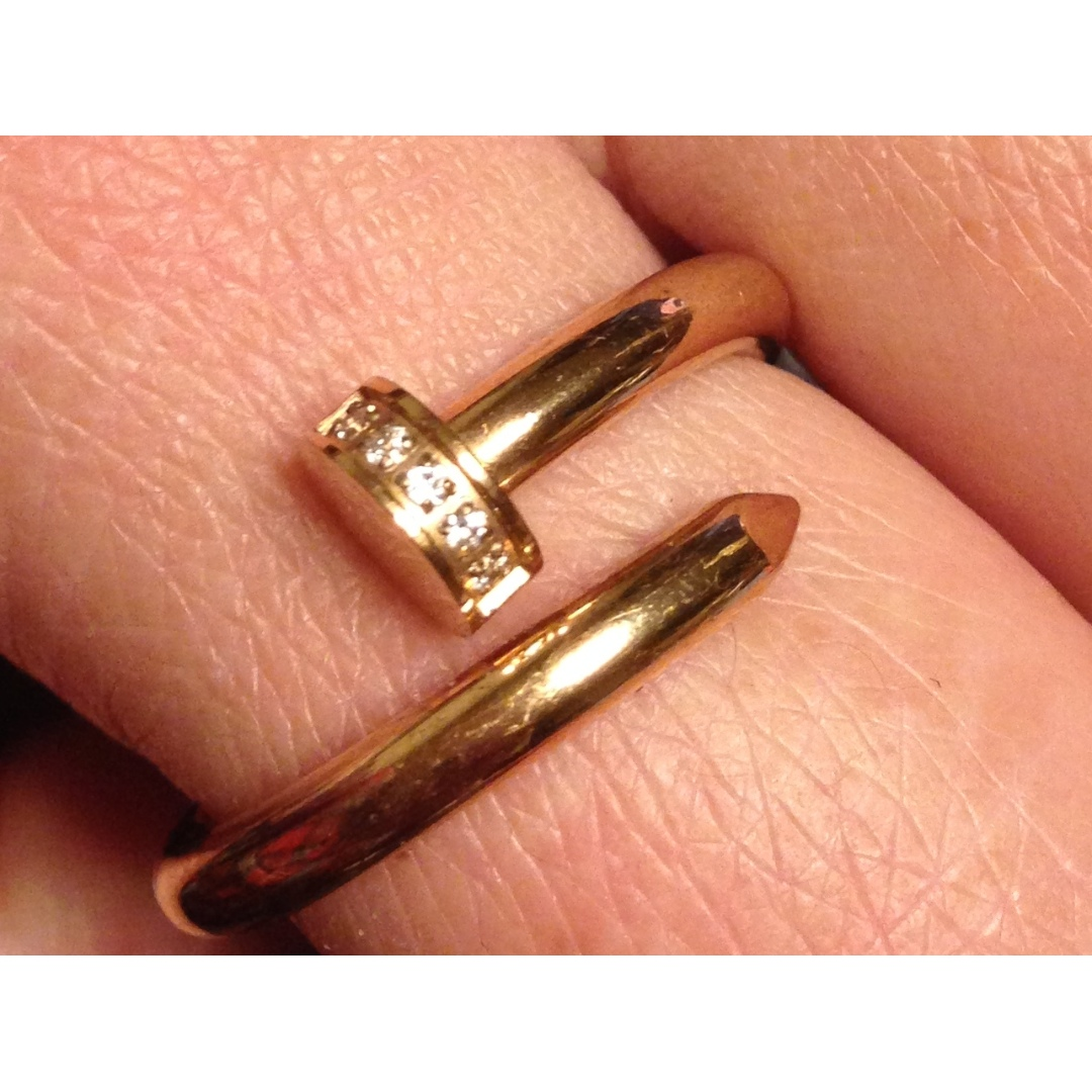 Gold plated Stainless Steel bended nail Ring