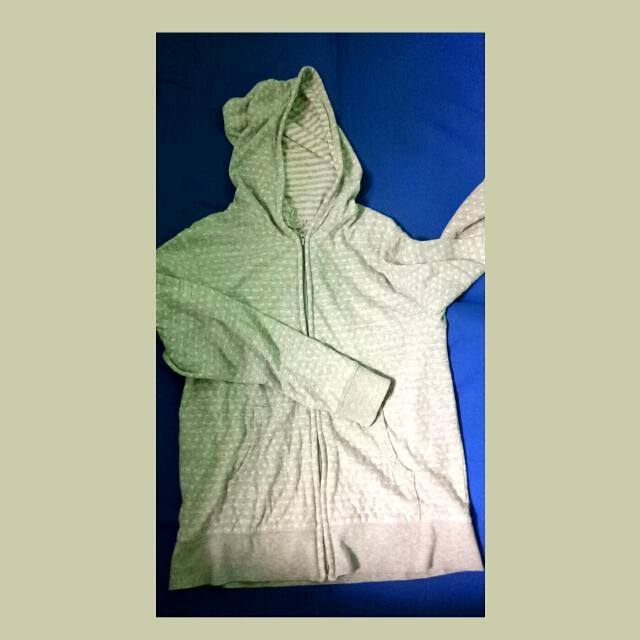 Gray Cotton Sweater with Hood