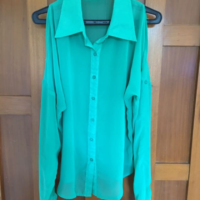 Green Cutout Blouse