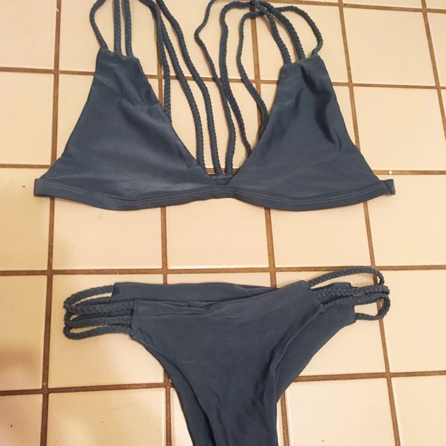 Green/blue/grey-ish Braided Bikini