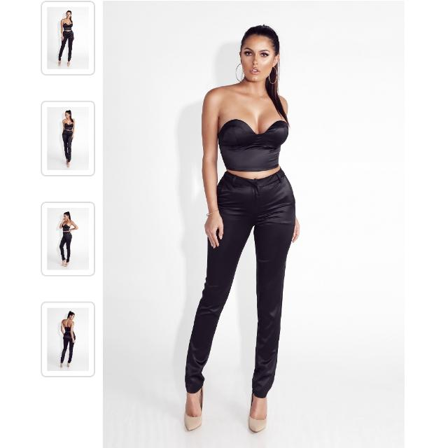 JLUX Label Black Satin Pant & Bustier Set
