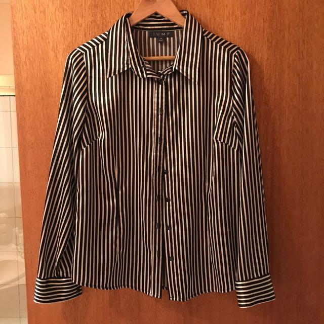 Jump Silk Black & White Stripe Blouse