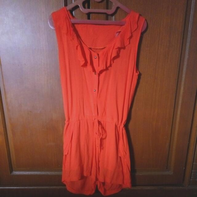 Jumpsuit Celana Warna Orange