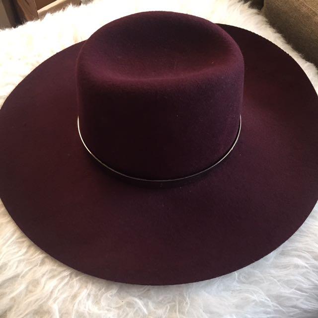 Kookai 100% Wool Burgundy Hat