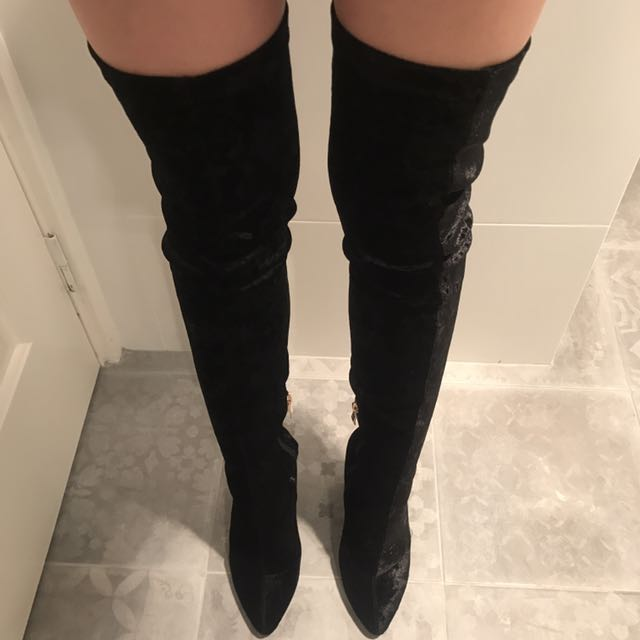 Ego Long Thigh High Crushed Velvet Boots