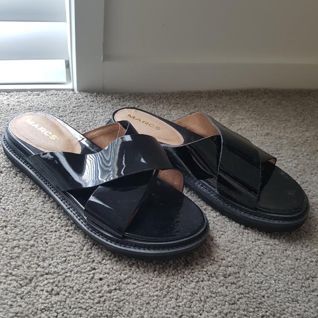 Marcs Patent Black Leather Slides Size 37