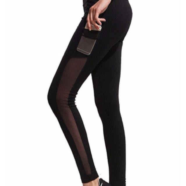 Mesh Panel Tights w/ phone pockets