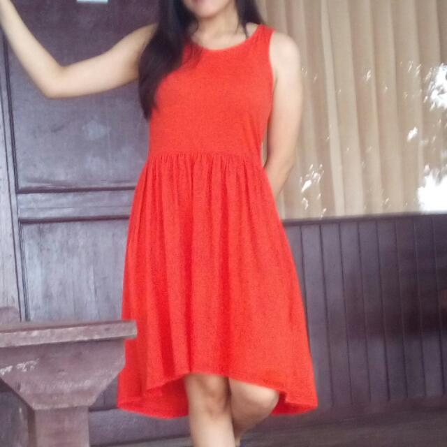 Sleeveless Midi Flare Dress Orange