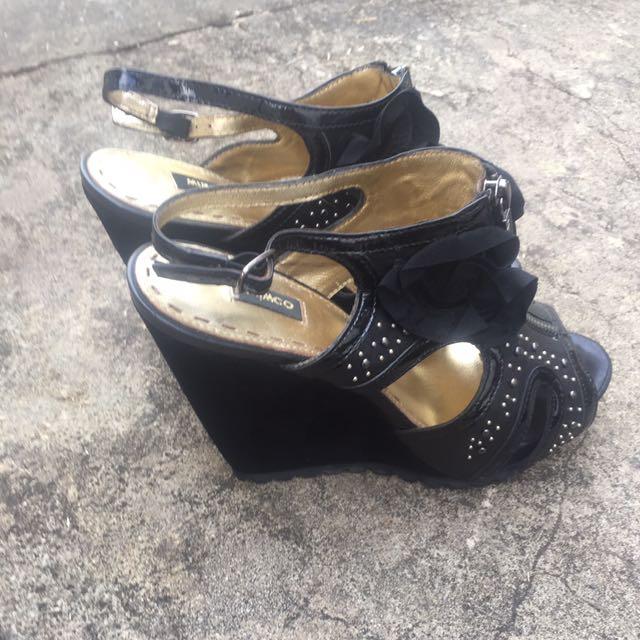 Mimco Open Toe Black Wedge Heel